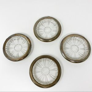 Vintage Glass and Silver Coaster Set